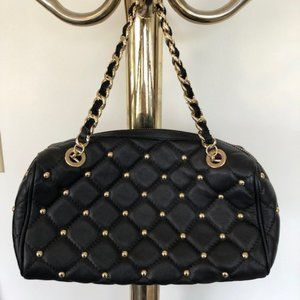 CLAUDIA FIRENZE Italian Leather Stud Chain Purse